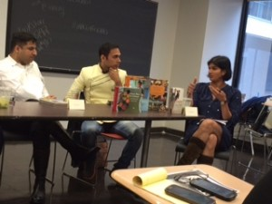 Food writer Suvir Saran and India's TV journo Saransh Goila react to a question from from novelist/blogger Pia Padukone