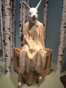 A very spooky rabbit mannequin in a romantic Harajuku fashion