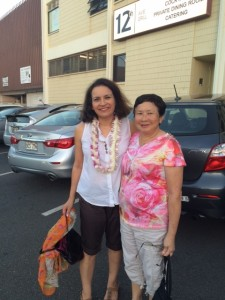 On my right is Jackie, a longtime reader and Iolani School staffer who nominated me for the artistic residency