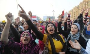 Women at Tahrir Square in 2012 by Mohamed Omar/EPA