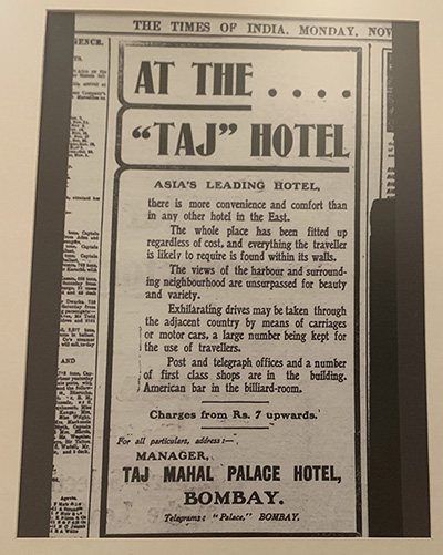 Ad for the Taj Hotel